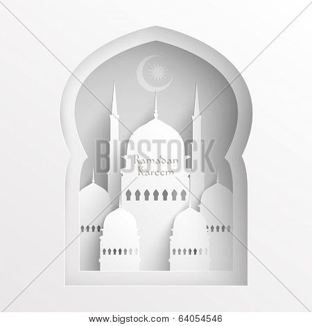 Vector 3D Paper Mosque. Translation: Ramadan Kareem - May Generosity Bless You During The Holy Month.