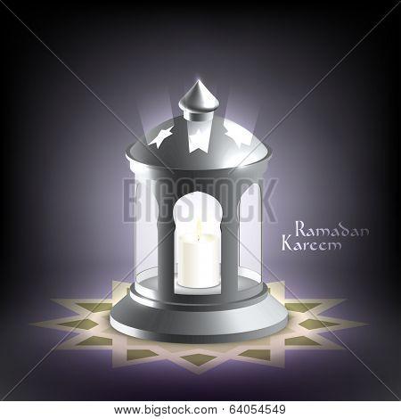 Vector 3D Muslim Oil Lamp. Translation: Ramadan Kareem - May Generosity Bless You During The Holy Month.