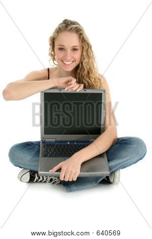 Beautiful Girl On Floor With Laptop