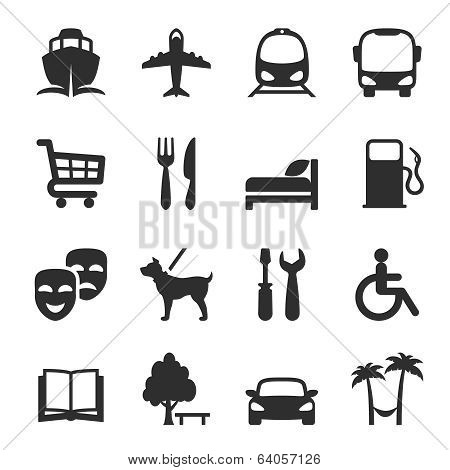 Set of icons for locations and services with a port  airport  bus  tram  shopping trolley  restaurant  accommodation  hotel  theatre  gas station  workshop  library  dog walking  resort and hospital poster