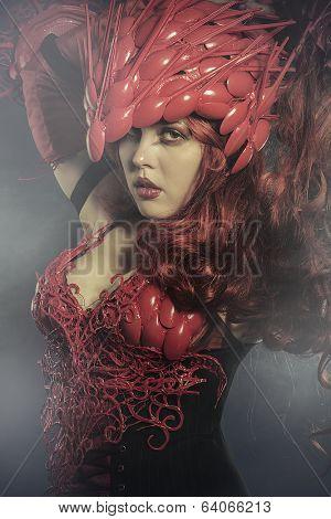 Valkyrie woman warrior in a dark forest, viking