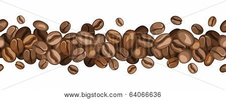 Horizontal seamless background with coffee beans. Vector illustration.