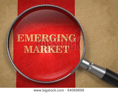 Emerging Marketing. Magnifying Glass on Old Paper.