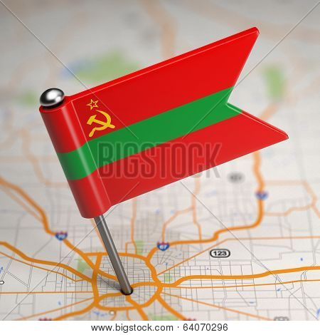 Transnistria Small Flag on a Map Background.