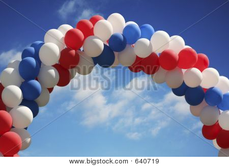 Balloon Arch With Vivid Sky Background