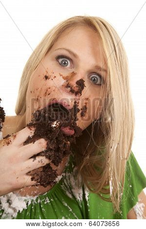 Woman Gree Shirt With Cake Stuff In Mouth