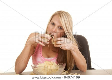 Woman Pink Tank Top Chips Eating Lots