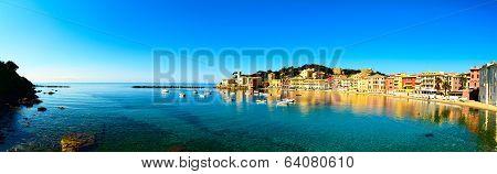Sestri Levante, Silence Bay Sea And Beach Panorama. Liguria, Italy