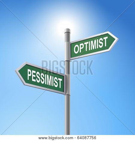 3D Road Sign Saying Pessimist And Optimist