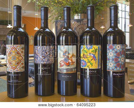 Wine choices at tasting room at Darioush Winery in Napa Valley