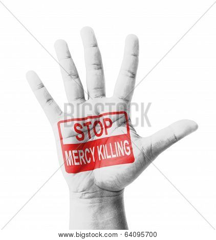 Open Hand Raised, Stop Mercy Killing Sign Painted, Multi Purpose Concept - Isolated On White Backgro