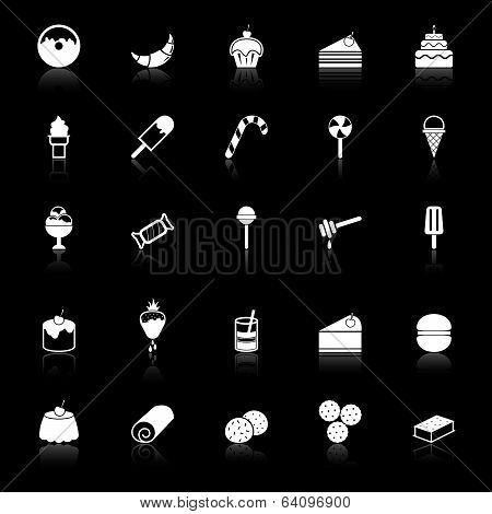 Dessert Icons With Reflect On Black Background