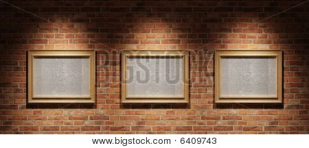 Three Pictures On A Brick Wall