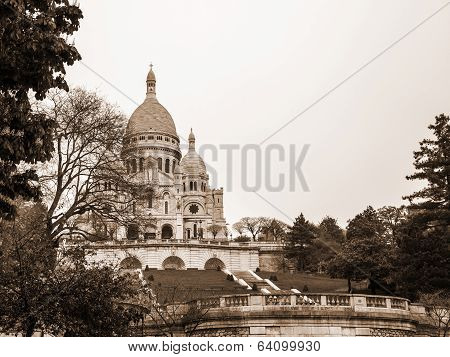 Paris, France, on May 3, 2013. A view of a basilica Sakre-Ker at top of Montmartre, one of city symb