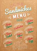 Sandwiches menu the names of sandwiches , ham swiss, chicken cheese, tuna salad, bbq cheese, ham egg, pepper cheese eeg, turkry roasted design a menu stylized drawing on kraft poster