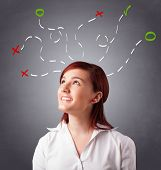 Beautiful young woman thinking with abstract marks overhead poster