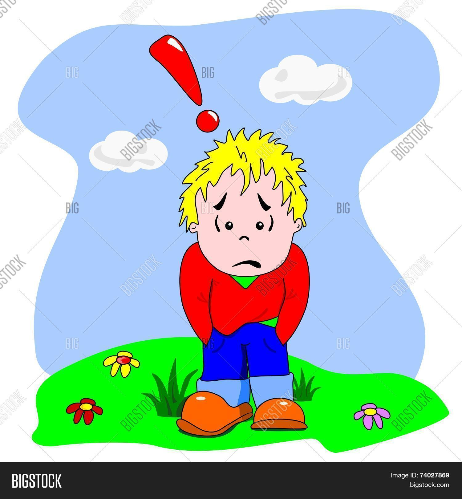 A cartoon vector of a sad disappointed young boy