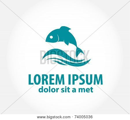 Fish abstract vector design logo template.