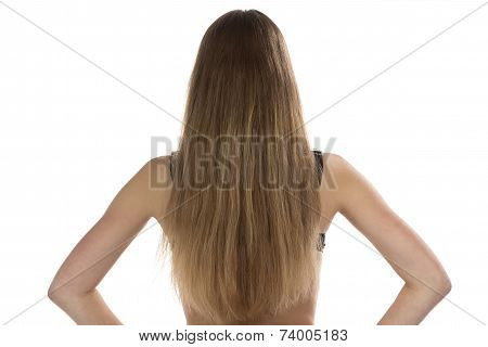 Photo of teenage girl from back
