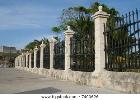 Big Iron Fence Surrounding The Castle Of The Force