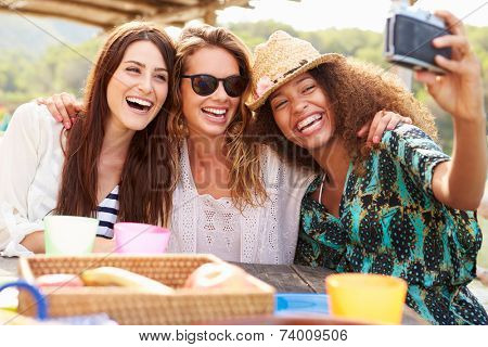 Female Friends Taking Selfie During Lunch Outdoors poster