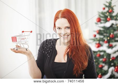 Christmas Girl With Mini Shopping Trolly Cart
