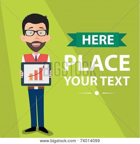 startup entrepreneur presenting information on tablet pc