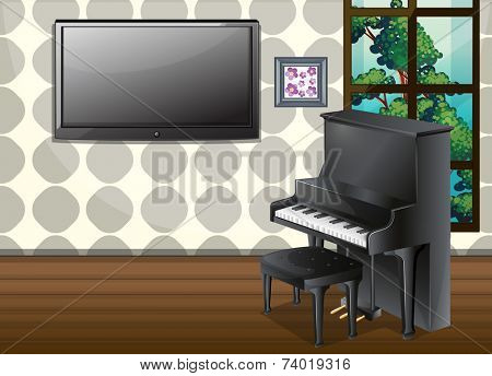 Illustration of a living room with piano