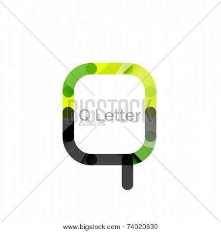 Minimal Q font or letter logo design isolated on white poster