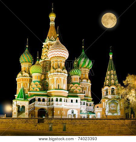 St. Basil Cathedral On Red Square In Moscow.