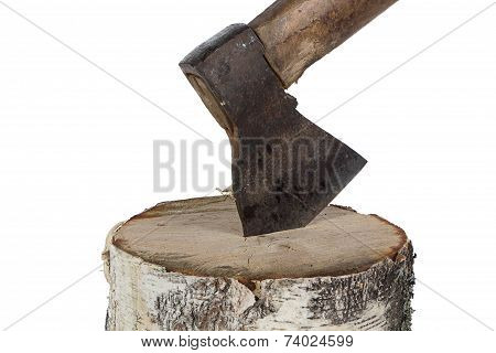 Image of axe in the birch stump