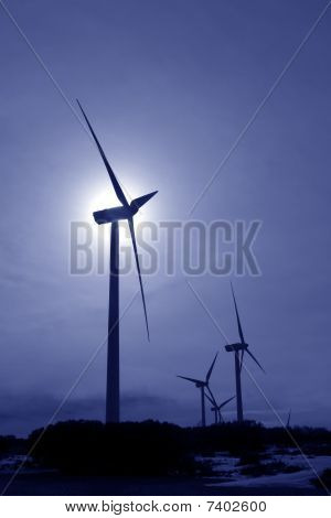Aerogenerator Windmill Backlight Blue Sky