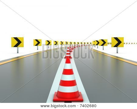 Road with signs and traffic cones