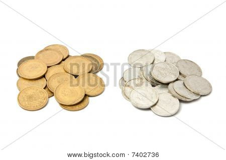 "Two mounds of old spanish coins (""pesetas"" pre-euro) poster"