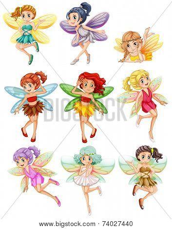 Illustration of many fairies flying