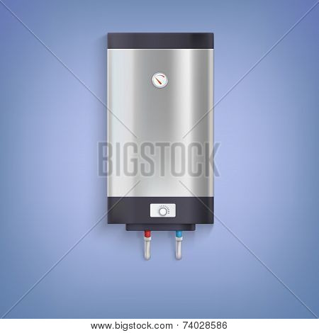 Water heater. Hot-water tank, chrome plated with a regulator and thermometer poster