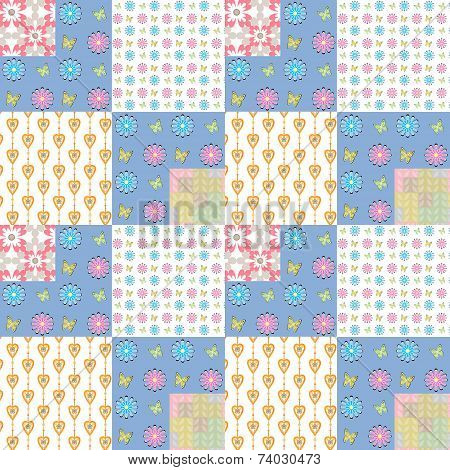 Patchwork seamless pattern with geometric elements background poster