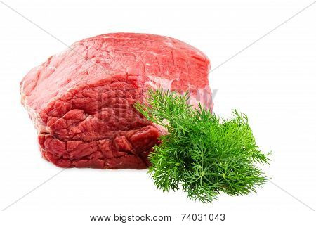 Fresh Beef Slab With Dill Isolated On White