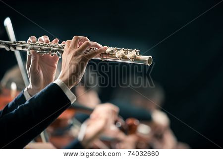 Symphony Orchestra Performance: Flutist Close-up