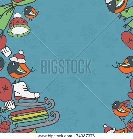 Winter seamless border with bullfinches and sleds mittens cap skates poster