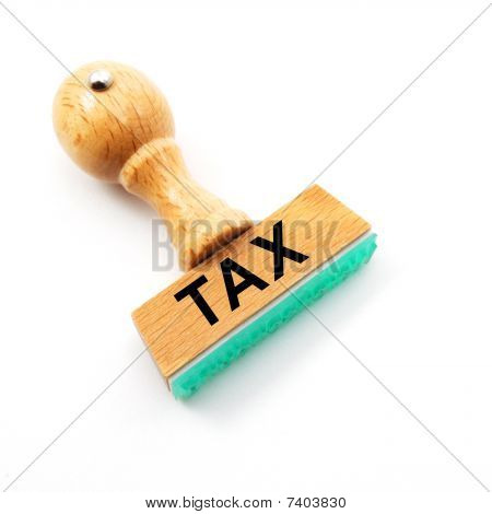 tax office concept with stamp and copyspace poster