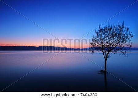 A view of a Ohrid lake at sunset