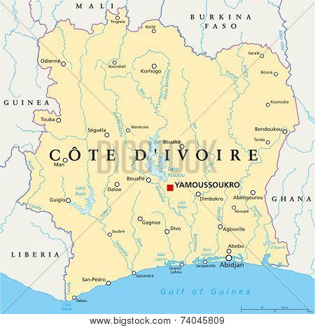 Ivory Coast Political Map - Cote d'Ivoire
