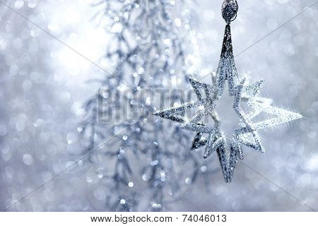 Christmas Decoraion Silver Star With Magic Lights