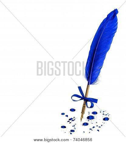 Vintage Feather Pen With Ink Stains Isolated On White Background