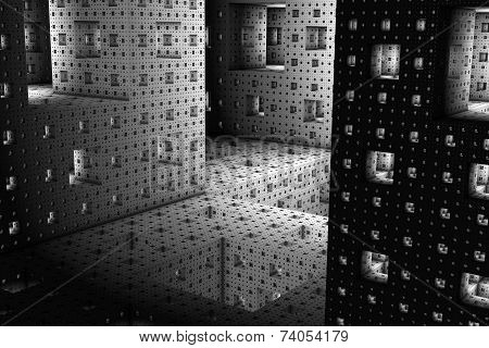 A bizarre background by the inner life of a Menger Sponge. poster