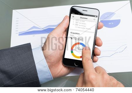 Businessman Using Google Analytics On Apple Iphone 6