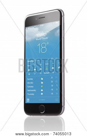 Apple Iphone 6 With Application Of Weather Forecast