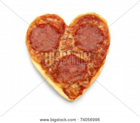 Salami Pizza In Heart Shape, Isolated