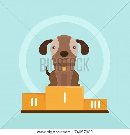 Vector Funny Puppy Winning In A Dog Show